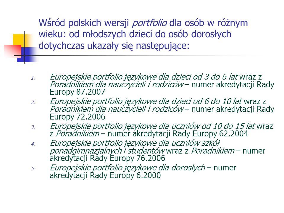 Wśród polskich wersji portfolio dla osób w różnym wieku: od młodszych dzieci do osób dorosłych dotychczas ukazały się następujące: