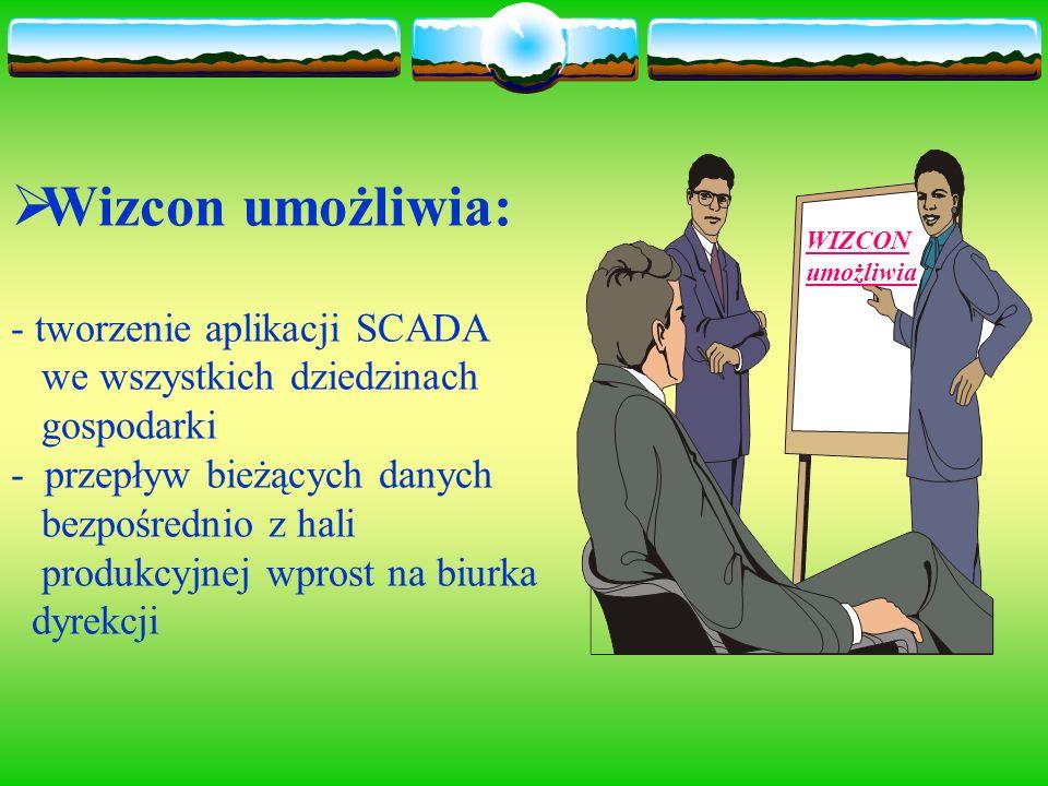 Wizcon umożliwia: - tworzenie aplikacji SCADA we wszystkich dziedzinach gospodarki - przepływ bieżących danych bezpośrednio z hali produkcyjnej wprost na biurka dyrekcji