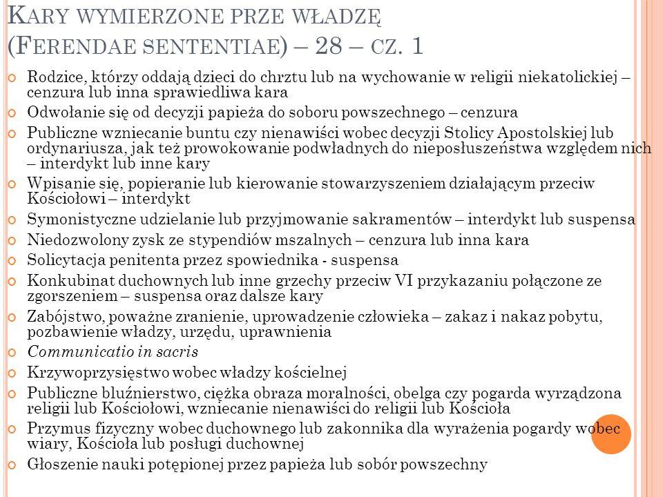 Kary wymierzone prze władzę (Ferendae sententiae) – 28 – cz. 1