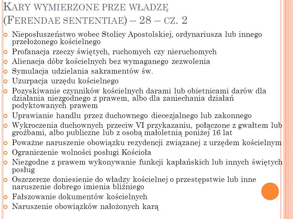 Kary wymierzone prze władzę (Ferendae sententiae) – 28 – cz. 2