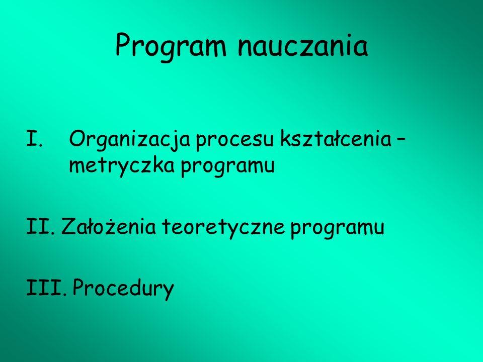 Program nauczania Organizacja procesu kształcenia – metryczka programu