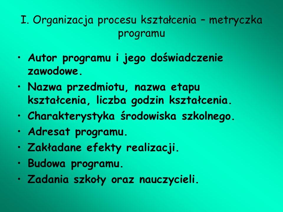 I. Organizacja procesu kształcenia – metryczka programu