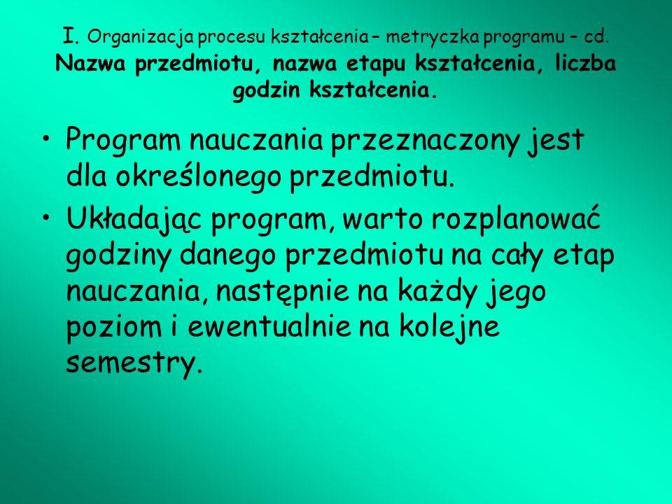 Program nauczania przeznaczony jest dla określonego przedmiotu.