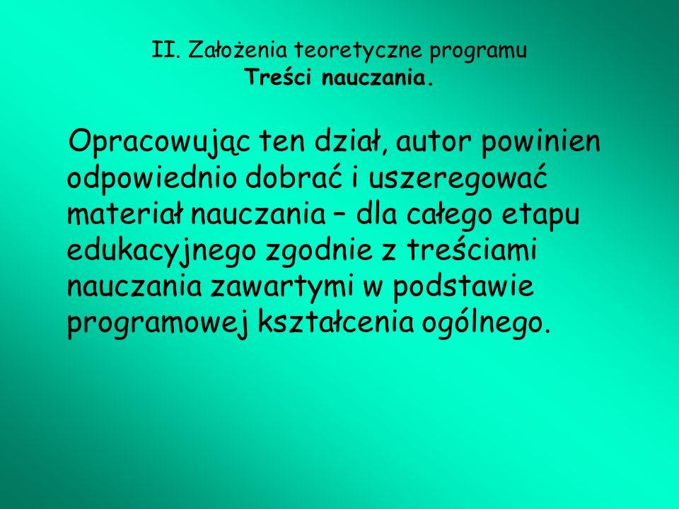 II. Założenia teoretyczne programu Treści nauczania.