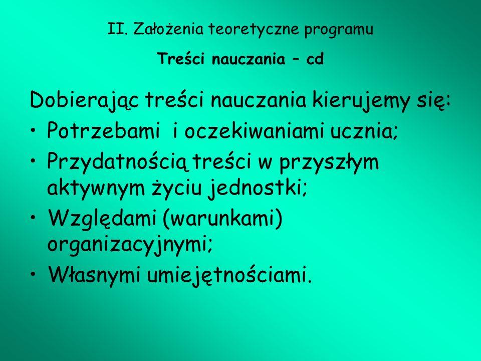 II. Założenia teoretyczne programu Treści nauczania – cd