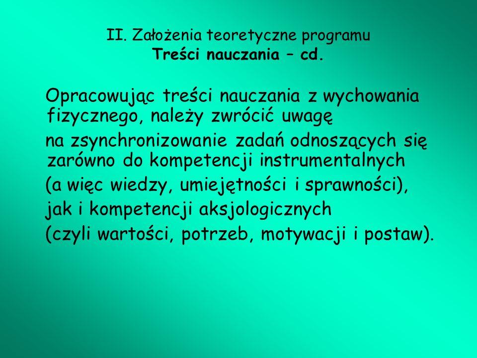 II. Założenia teoretyczne programu Treści nauczania – cd.