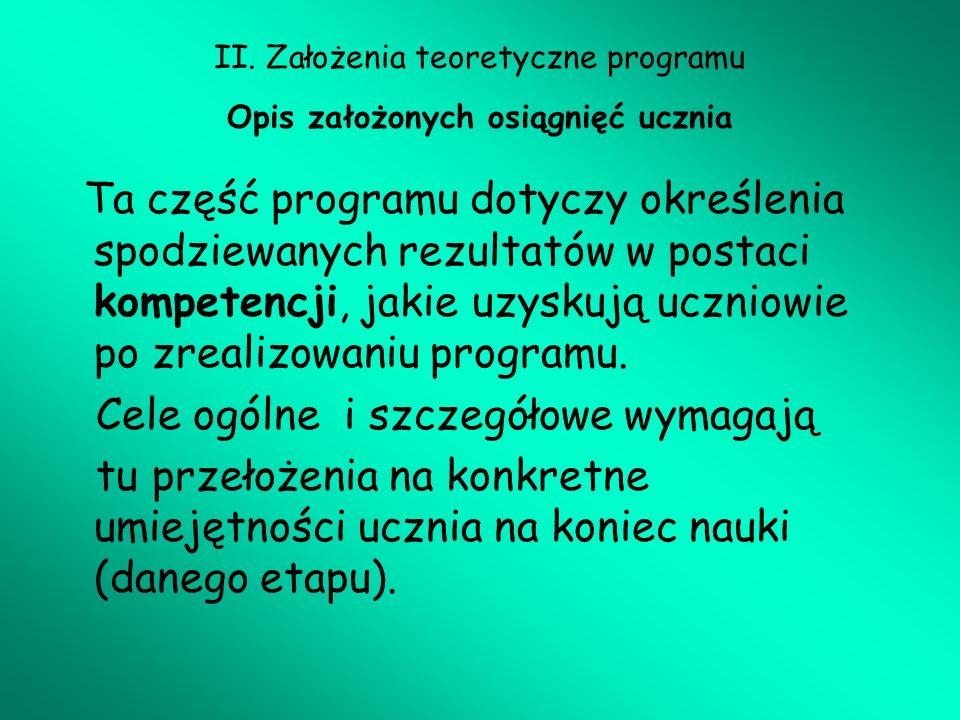 II. Założenia teoretyczne programu Opis założonych osiągnięć ucznia