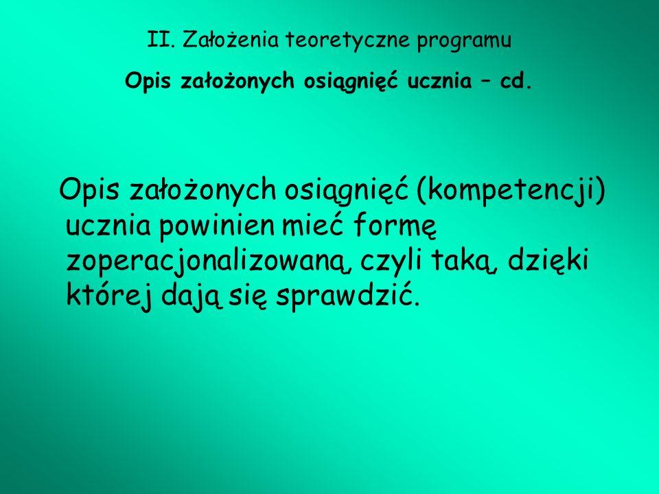II. Założenia teoretyczne programu Opis założonych osiągnięć ucznia – cd.
