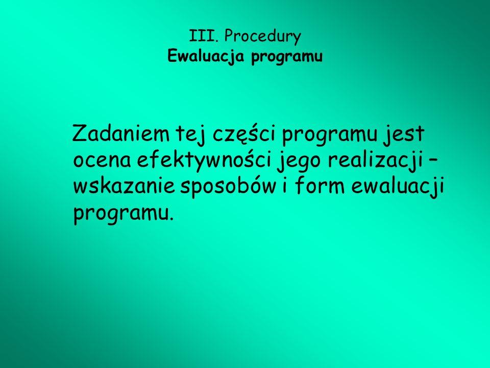 III. Procedury Ewaluacja programu