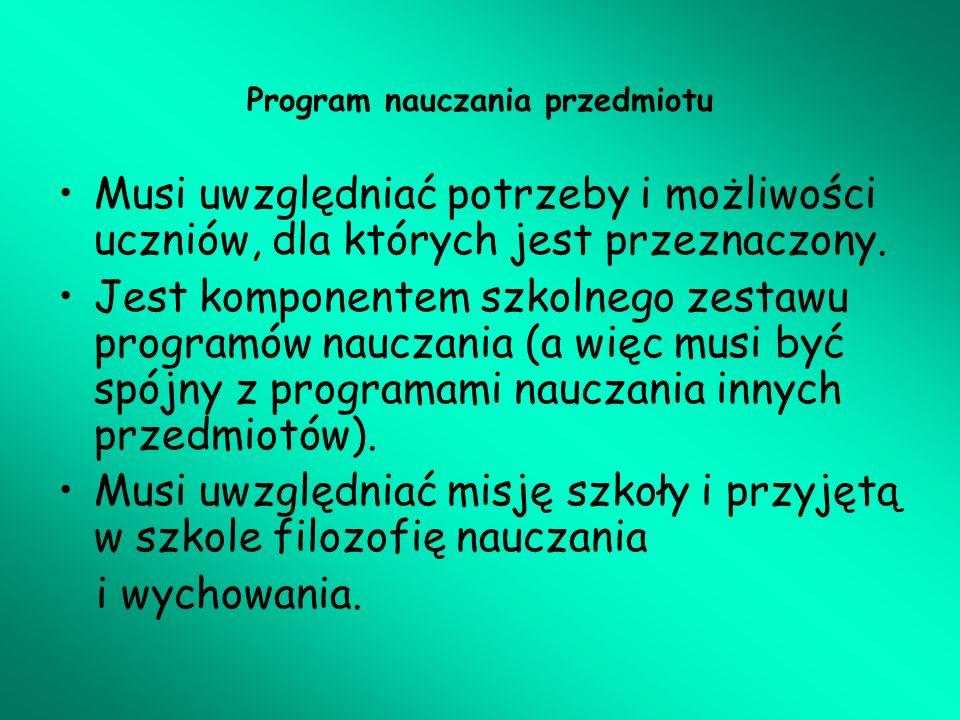 Program nauczania przedmiotu