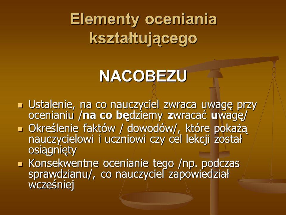 Elementy oceniania kształtującego NACOBEZU
