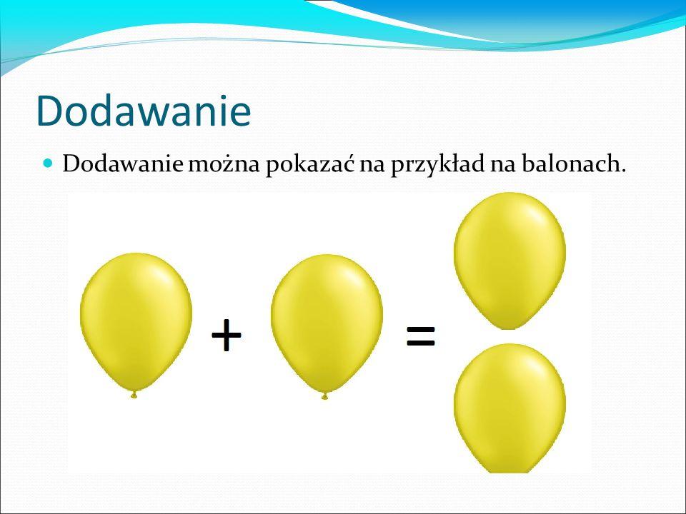 Dodawanie Dodawanie można pokazać na przykład na balonach.
