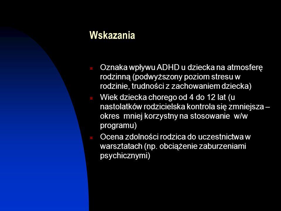 Wskazania Oznaka wpływu ADHD u dziecka na atmosferę rodzinną (podwyższony poziom stresu w rodzinie, trudności z zachowaniem dziecka)
