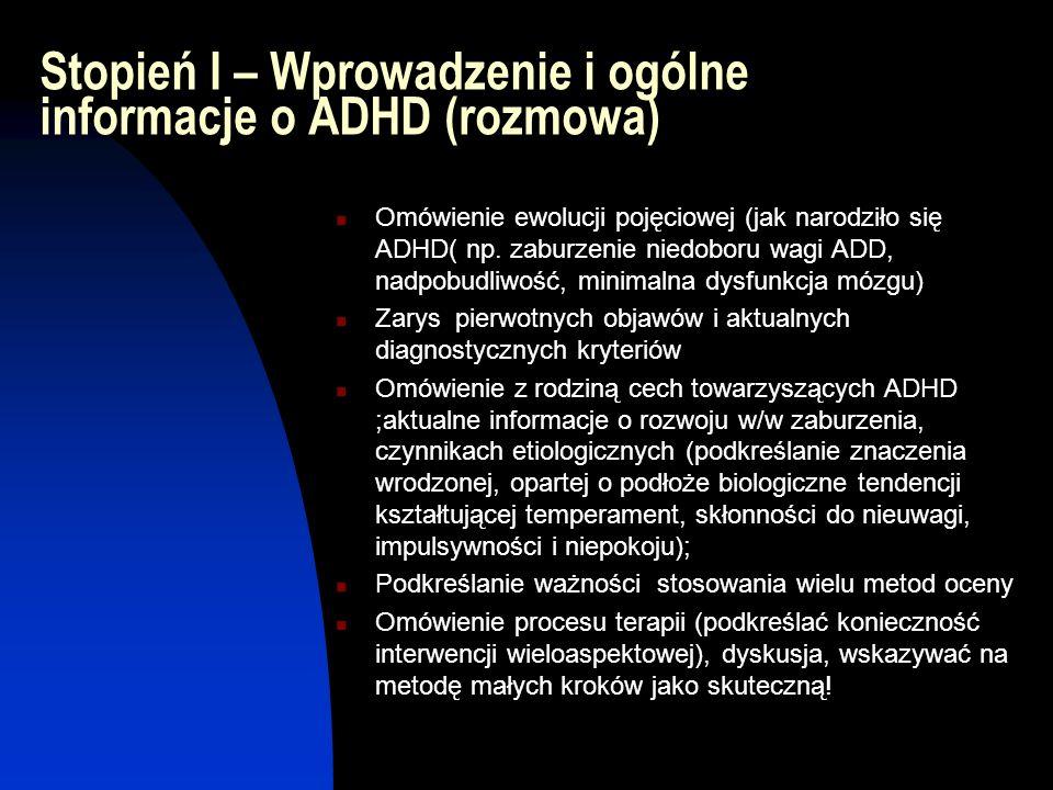 Stopień I – Wprowadzenie i ogólne informacje o ADHD (rozmowa)