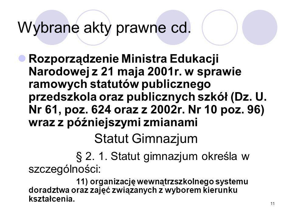 Wybrane akty prawne cd. Statut Gimnazjum