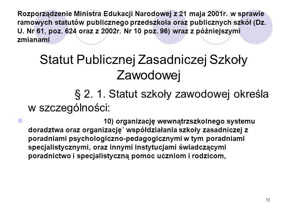Statut Publicznej Zasadniczej Szkoły Zawodowej