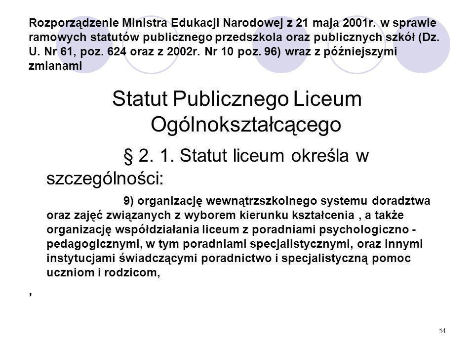 Statut Publicznego Liceum Ogólnokształcącego