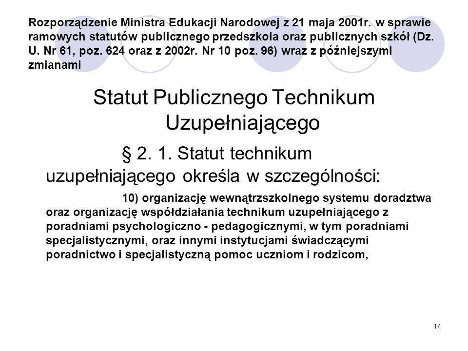 Statut Publicznego Technikum Uzupełniającego