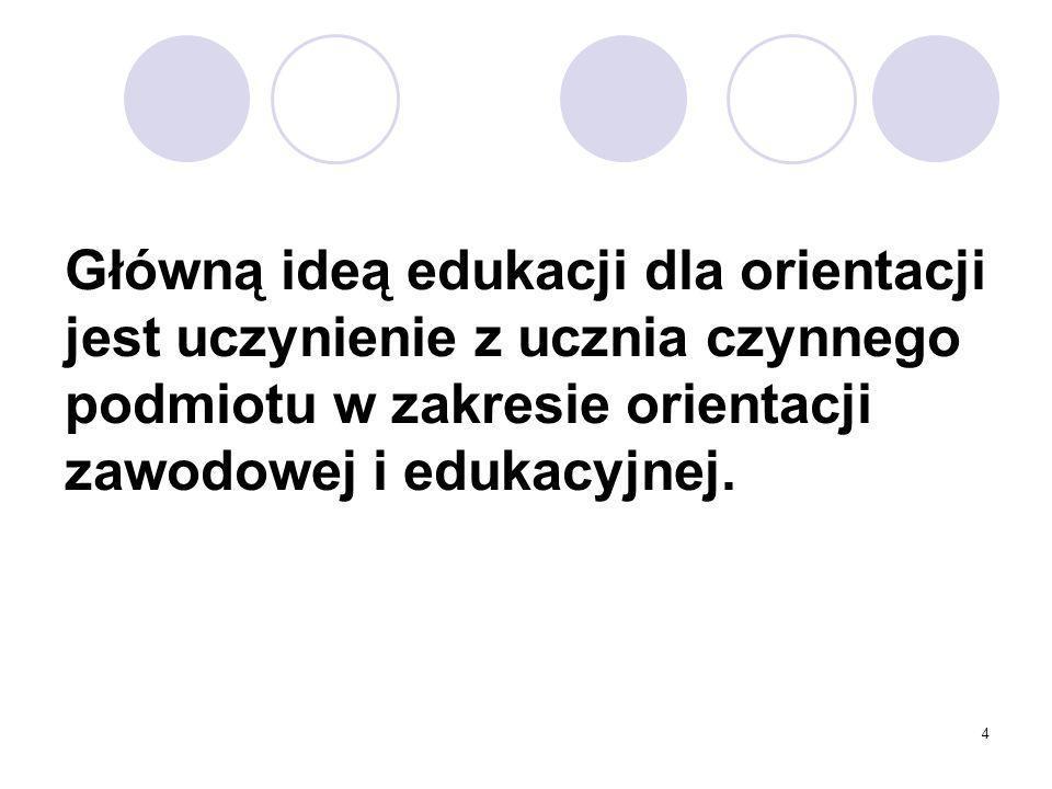Główną ideą edukacji dla orientacji jest uczynienie z ucznia czynnego podmiotu w zakresie orientacji zawodowej i edukacyjnej.