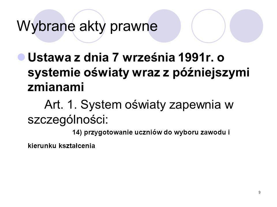 Wybrane akty prawne Ustawa z dnia 7 września 1991r. o systemie oświaty wraz z późniejszymi zmianami.