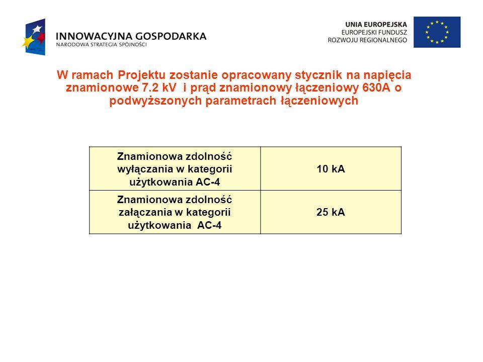 W ramach Projektu zostanie opracowany stycznik na napięcia znamionowe 7.2 kV i prąd znamionowy łączeniowy 630A o podwyższonych parametrach łączeniowych