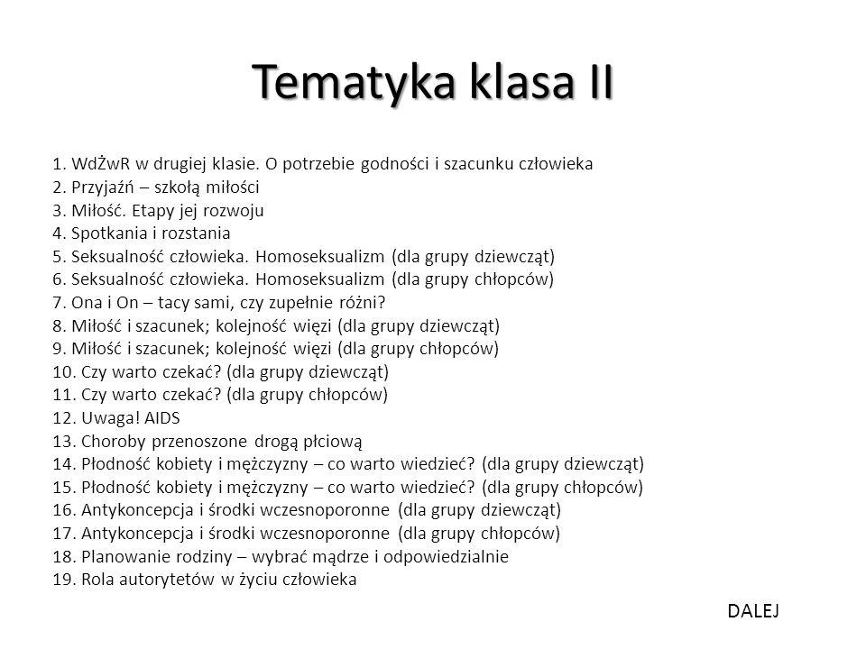 Tematyka klasa II DALEJ