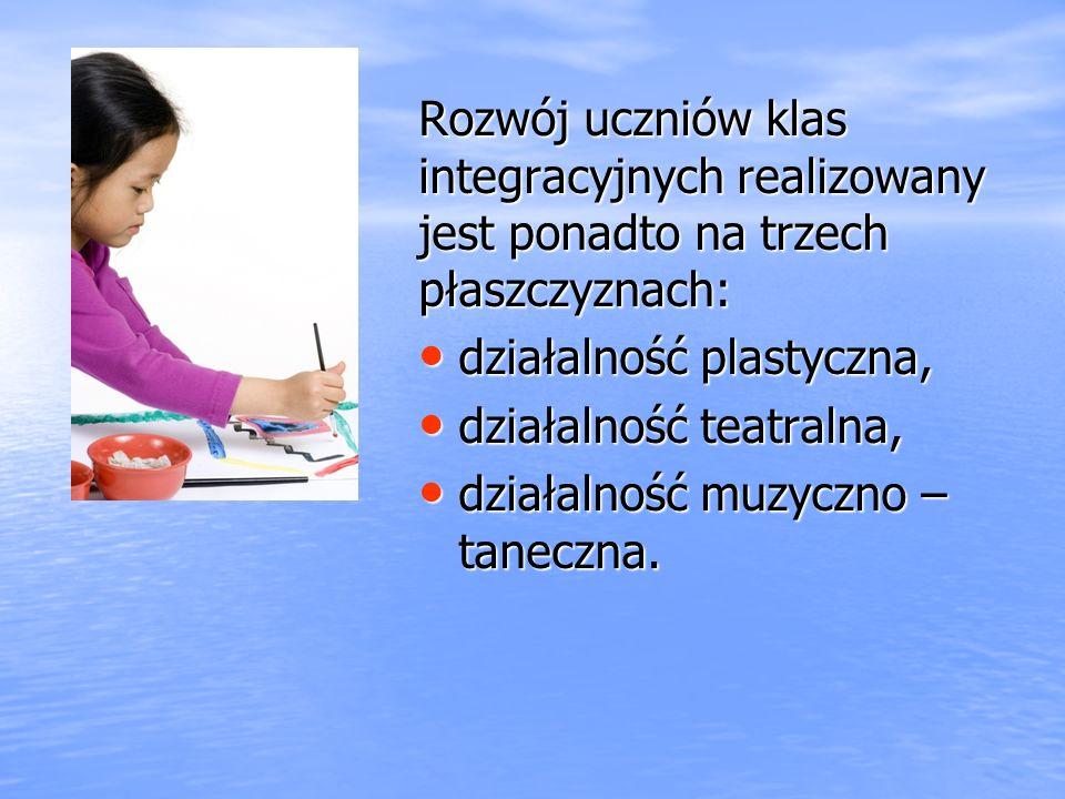 Rozwój uczniów klas integracyjnych realizowany jest ponadto na trzech płaszczyznach: