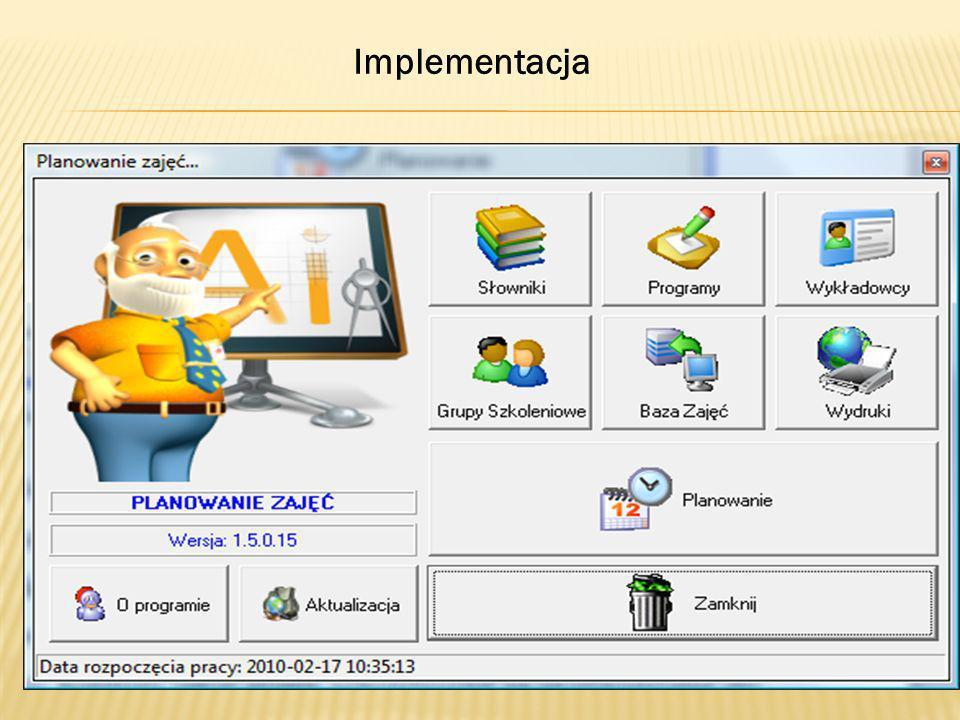 Implementacja Następnym etapem realizacji zadania jest implementacja funkcji programu.