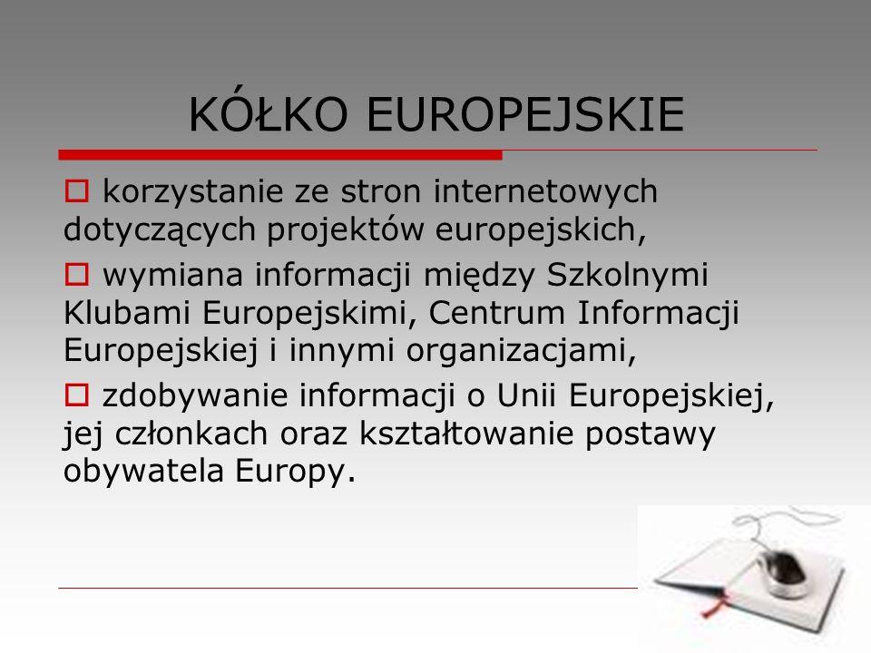 KÓŁKO EUROPEJSKIE korzystanie ze stron internetowych dotyczących projektów europejskich,