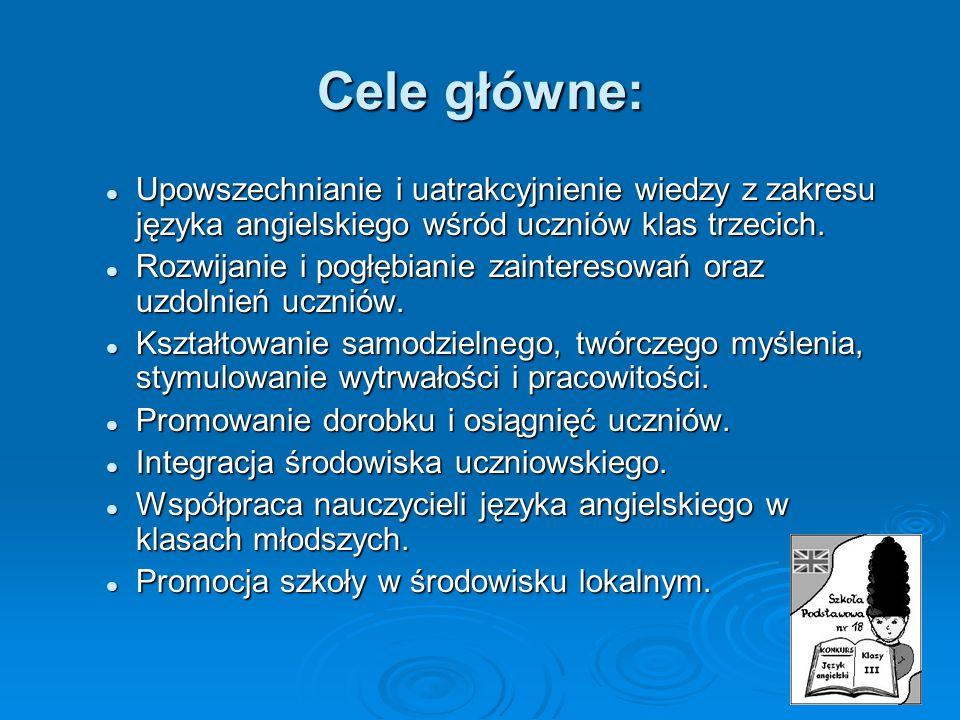 Cele główne: Upowszechnianie i uatrakcyjnienie wiedzy z zakresu języka angielskiego wśród uczniów klas trzecich.