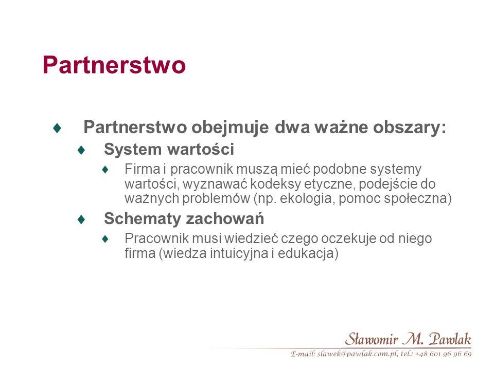 Partnerstwo Partnerstwo obejmuje dwa ważne obszary: System wartości