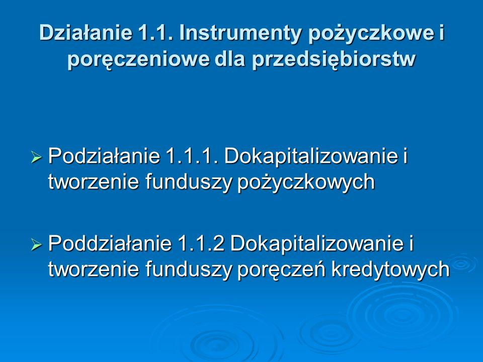 Działanie 1.1. Instrumenty pożyczkowe i poręczeniowe dla przedsiębiorstw