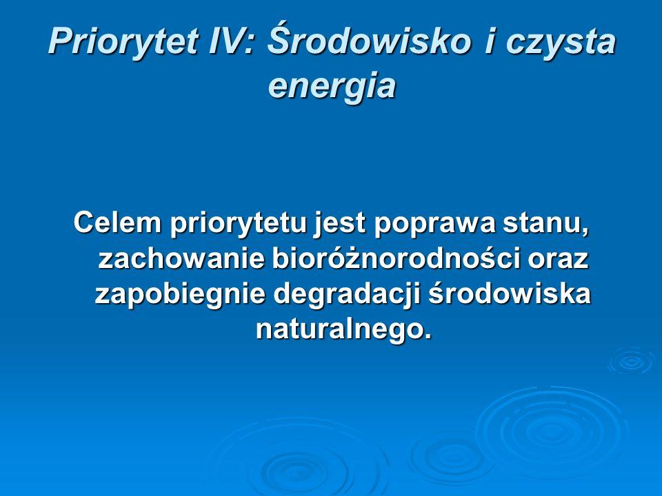 Priorytet IV: Środowisko i czysta energia