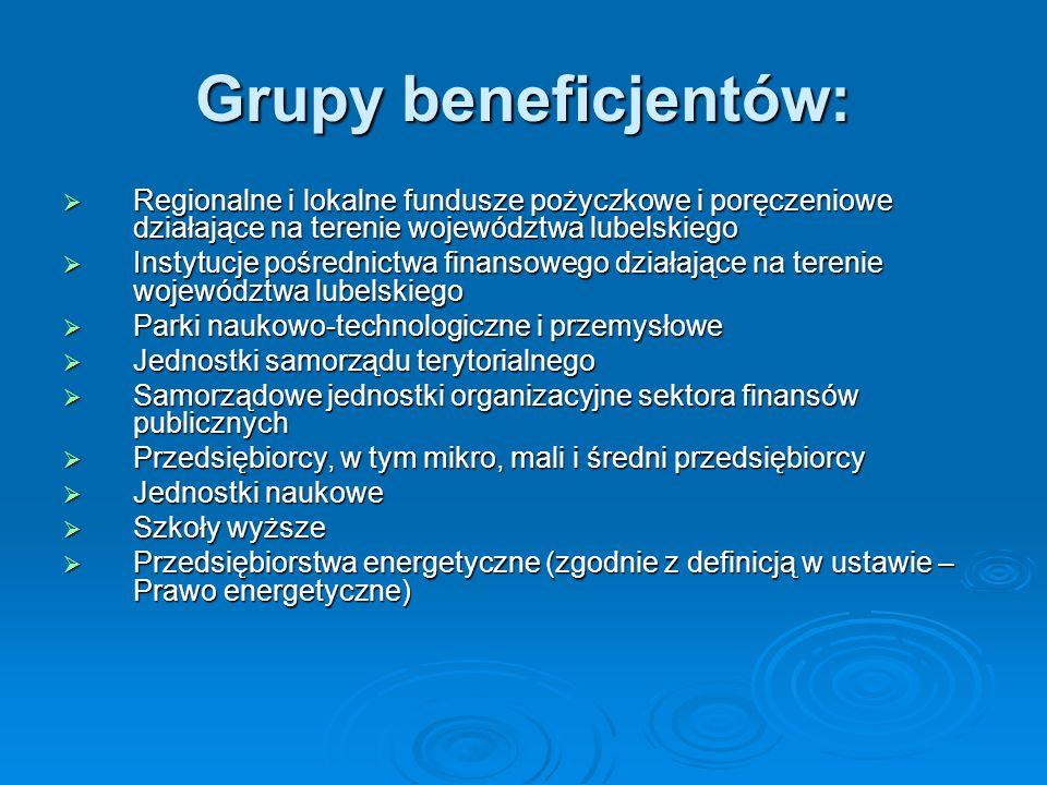 Grupy beneficjentów: Regionalne i lokalne fundusze pożyczkowe i poręczeniowe działające na terenie województwa lubelskiego.