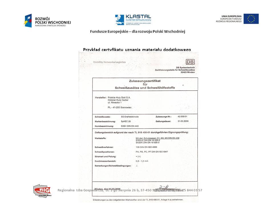 Przykład certyfikatu uznania materiału dodatkowego
