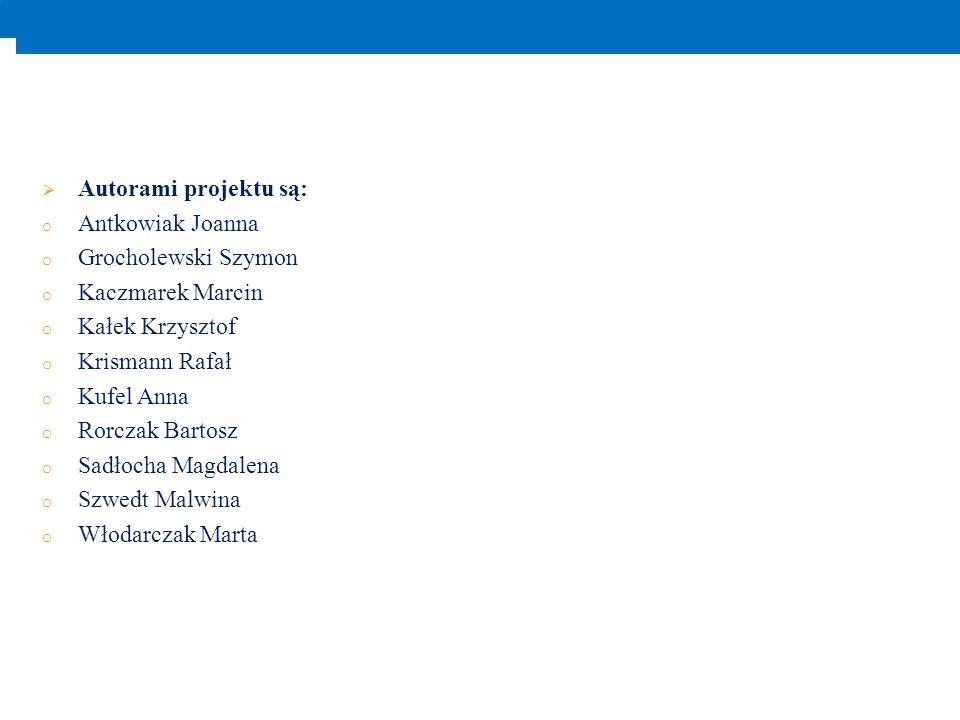 Autorami projektu są: Antkowiak Joanna. Grocholewski Szymon. Kaczmarek Marcin. Kałek Krzysztof. Krismann Rafał.