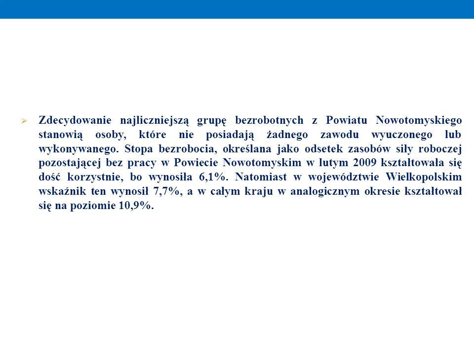 Zdecydowanie najliczniejszą grupę bezrobotnych z Powiatu Nowotomyskiego stanowią osoby, które nie posiadają żadnego zawodu wyuczonego lub wykonywanego.