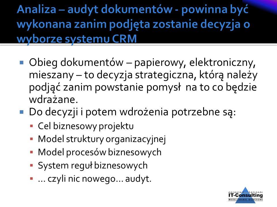 Analiza – audyt dokumentów - powinna być wykonana zanim podjęta zostanie decyzja o wyborze systemu CRM