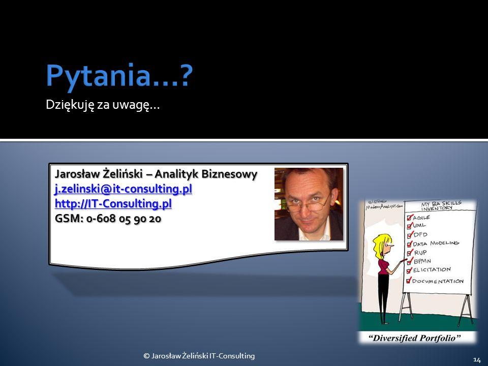 Pytania… Dziękuję za uwagę… Jarosław Żeliński – Analityk Biznesowy