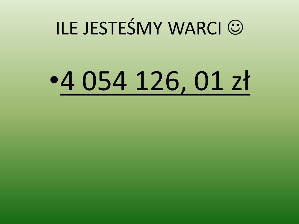 ILE JESTEŚMY WARCI  4 054 126, 01 zł