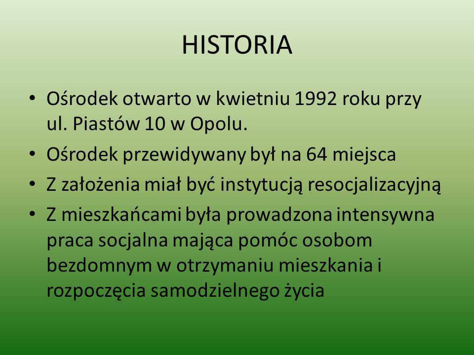 HISTORIAOśrodek otwarto w kwietniu 1992 roku przy ul. Piastów 10 w Opolu. Ośrodek przewidywany był na 64 miejsca.