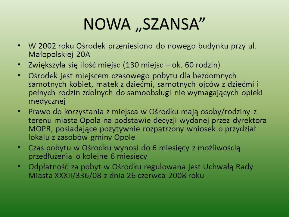 """NOWA """"SZANSA W 2002 roku Ośrodek przeniesiono do nowego budynku przy ul. Małopolskiej 20A. Zwiększyła się ilość miejsc (130 miejsc – ok. 60 rodzin)"""