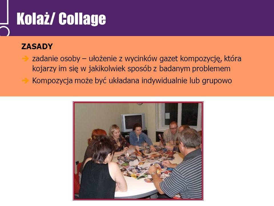 Kolaż/ Collage ZASADY. zadanie osoby – ułożenie z wycinków gazet kompozycję, która kojarzy im się w jakikolwiek sposób z badanym problemem.
