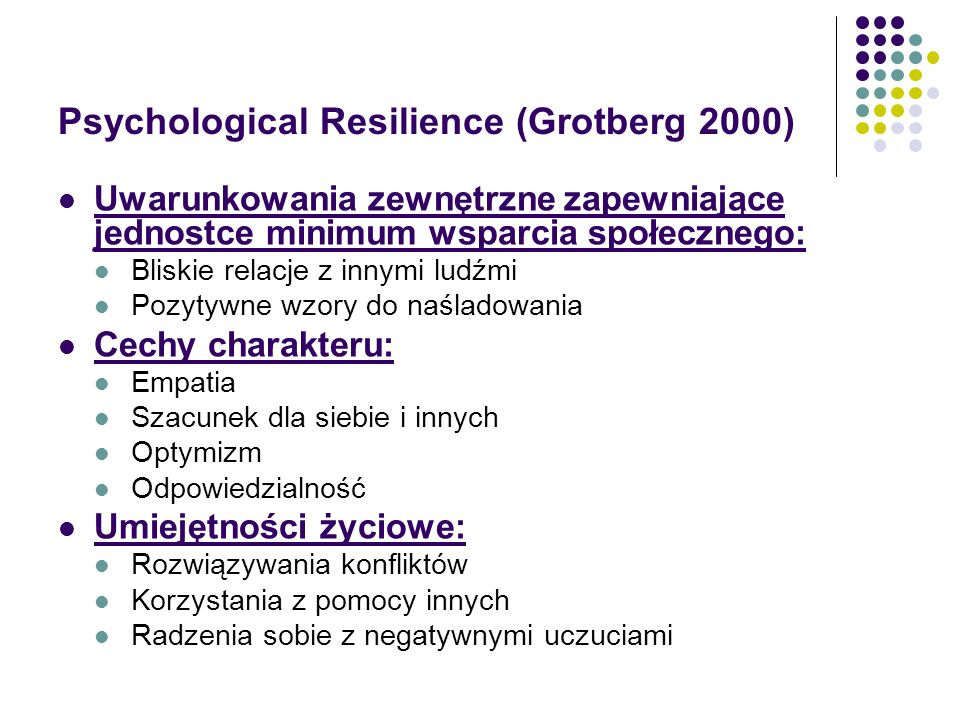 Psychological Resilience (Grotberg 2000)