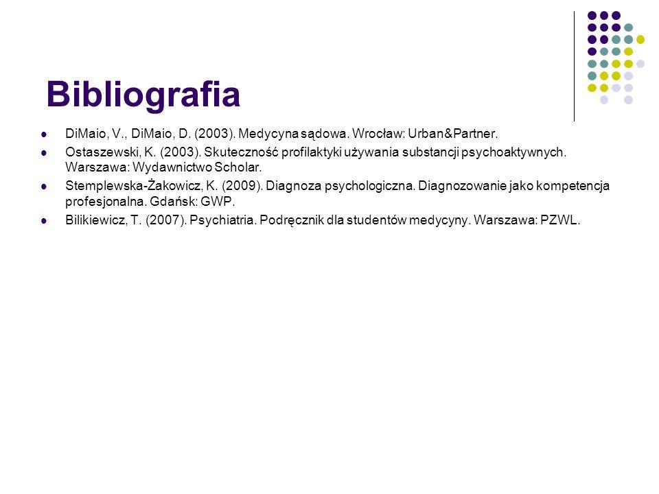 Bibliografia DiMaio, V., DiMaio, D. (2003). Medycyna sądowa. Wrocław: Urban&Partner.