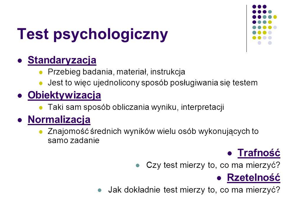 Test psychologiczny Standaryzacja Obiektywizacja Normalizacja Trafność