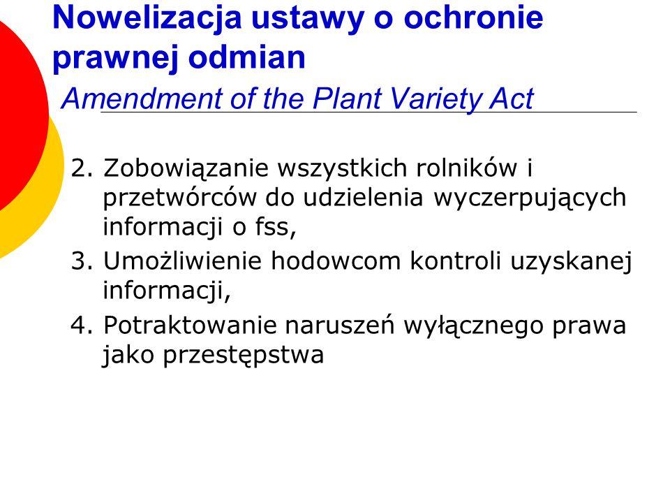 Nowelizacja ustawy o ochronie prawnej odmian Amendment of the Plant Variety Act