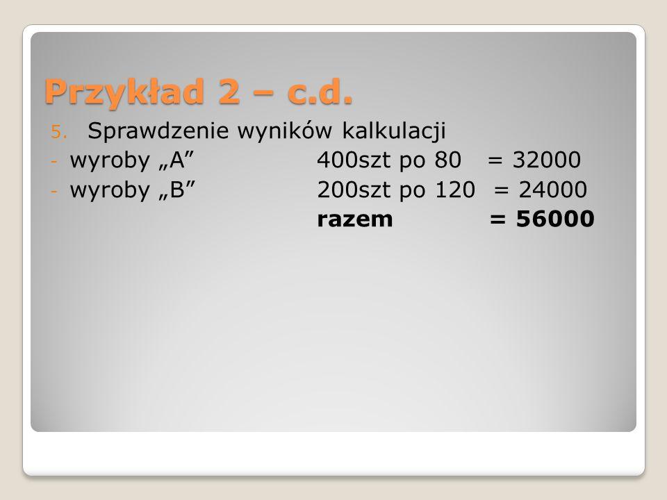Przykład 2 – c.d. Sprawdzenie wyników kalkulacji
