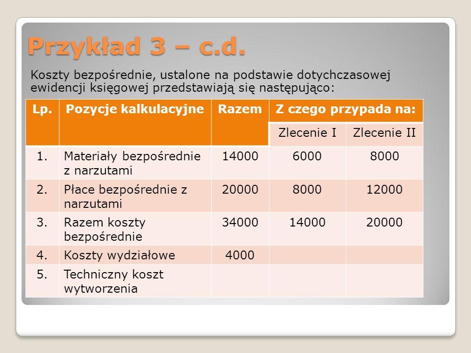 Przykład 3 – c.d.Koszty bezpośrednie, ustalone na podstawie dotychczasowej ewidencji księgowej przedstawiają się następująco: