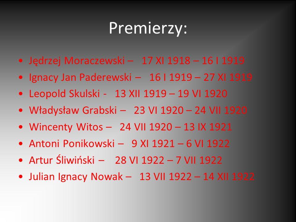 Premierzy: Jędrzej Moraczewski – 17 XI 1918 – 16 I 1919